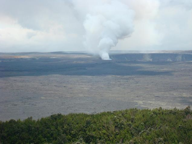 Halema'uma'u Crater. Shot taken from the Volcano House.
