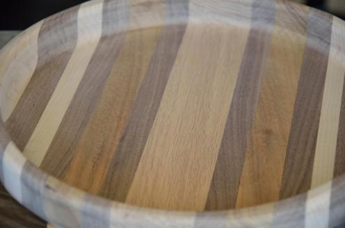 This bowl is made from maple, red oak, walnut, and koa.