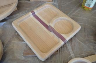 This serving tray is made from oak, maple and purpleheart.