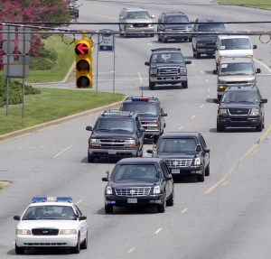 President George W Bush's motorcade, 2005. Photo Mike Hensdill/The Gaston Gazette, as shown on Wikipedia.