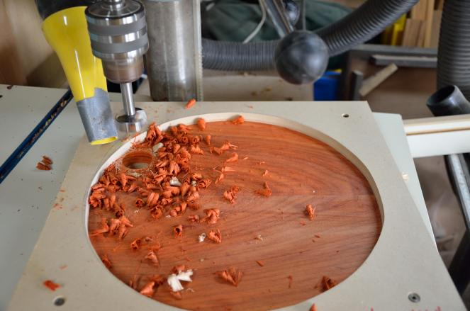"I found some wonderful Padauk on sale at the Pasadena Rockler store for just $5.99/board foot. This large bowl is a sandwich of two glue-ups of 4/4 Padauk surrounding a third White Oak glue-up, planed to 1/2"" thick. This bowl used 3 board feet of Padauk and 1-1/2 board feet of White Oak (most of which became sawdust, unfortunately!)."