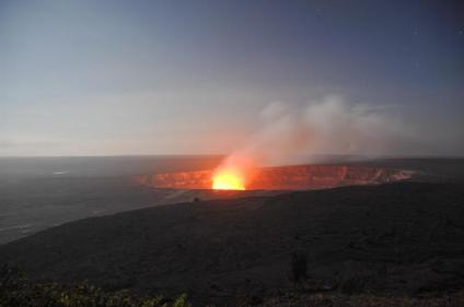 View of Halema'uma'u from Jaggar Museum Overlook as darkness falls. Photo by Ed Shiinoki. From the Park's website.