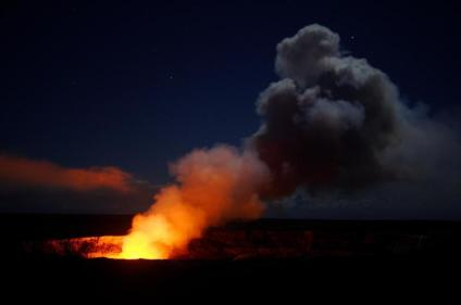 Halema'uma'u at night viewed from Jaggar Museum Overlook. Photo by Keith Burnett. From the Park's website.