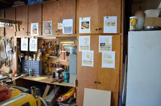 One of my traditions is to tape the plans of the project I'm making onto the shop cabinets.