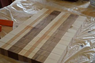 """After the first glue up, the board is cut into 1-1/2"""" strips."""
