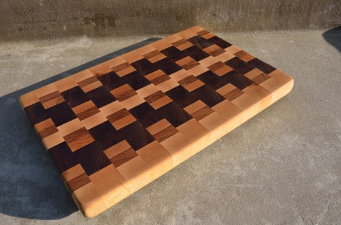 # 78 Cutting Board, $125. Hard Maple, Cherry and Black Walnut. End grain.