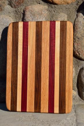 # 5 Cheese Board, $30. Red Oak, Walnut, Hard Maple, Purpleheart.