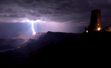 Lightning strikes the South Rim of the Grand Canyon. Photo by Travis Roe. Tweeted by the US Department of the Interior, 2/26/14.