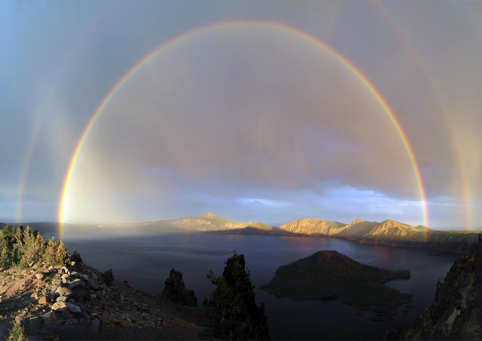 A severe thunderstorm cell ignited some new fires this week in Crater Lake National Park, but at least it also provided a delightful side effect. To answer some posters' questions, this photograph has not been retouched or enhanced in any way. Posted on Tumblr by the US Department of the Interior, 8/2/14.