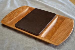 Cherry server, Black Walnut end grain cutting board insert.