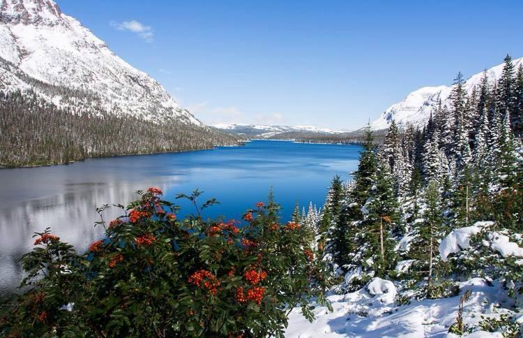 It's winter already! Here's Two Medicine Lake in the Glacier National Park. Photo by Marc Ankenbauer. Tweeted by the US Department of the Interior, 9/12/14.