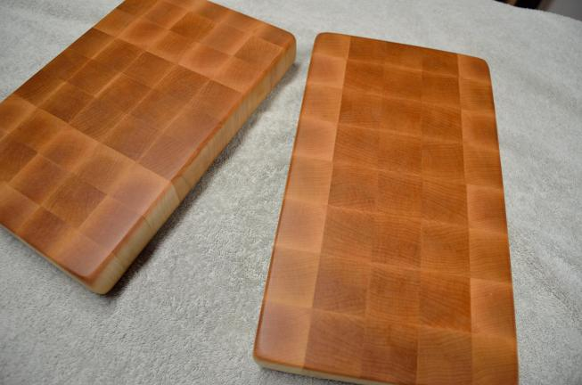 "Two Hard Maple boards. Cutting boards for your RV? Cheese boards? Bar boards? You choose. One is 12-1/2"" x 8"" x 1-1/2"". The other is 13"" x 7-1/4"" x 1-1/2"". End grain."