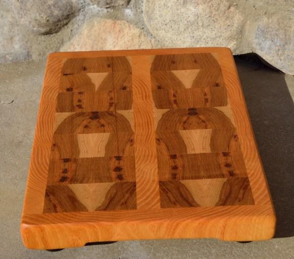 "The Alien Board. Honey Locust & Hickory end grain. 11"" x 8""."