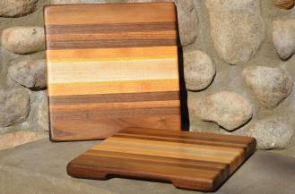 "Black Walnut, White Oak, Honey Locust, and Hard Maple edge grain. 11-1/2"" x 12"" x 1""."