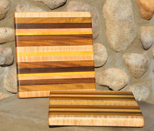"Curly Maple, Teak, Black Walnut and Yellowheart edge grain. 12"" x 11-1/2"" x 1-1/8""."