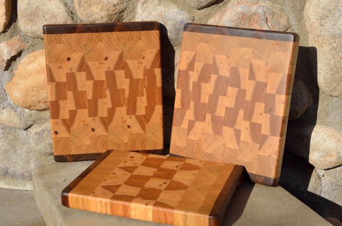 "Black Walnut, White Oak and Hickory end grain. Two are 11"" x 9"" x 1-1/8"". The third board is 10"" x 8"" x 1-1/8""."