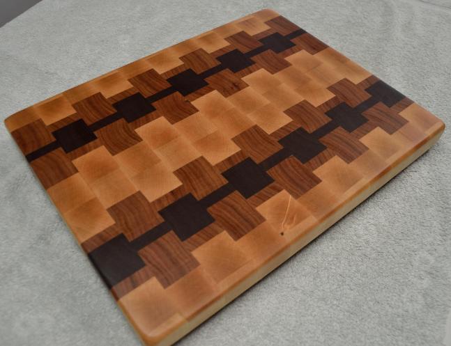 """# 65 Cutting Board, $125. Hard Maple, Cherry & Black Walnut. 16"""" x 12-1/2"""" x 1-1/4"""". End Grain."""