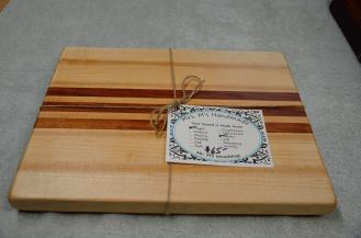 """12"""" x 16"""" x 1-1/8"""". Jatoba and Hard Maple edge grain. I love the dark figure in the hard maple that echoes the color of the Jatoba."""