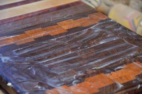 The beeswax/mineral oil topcoat will show the ultimate beauty of the boards ... when it's hand rubbed into the board..