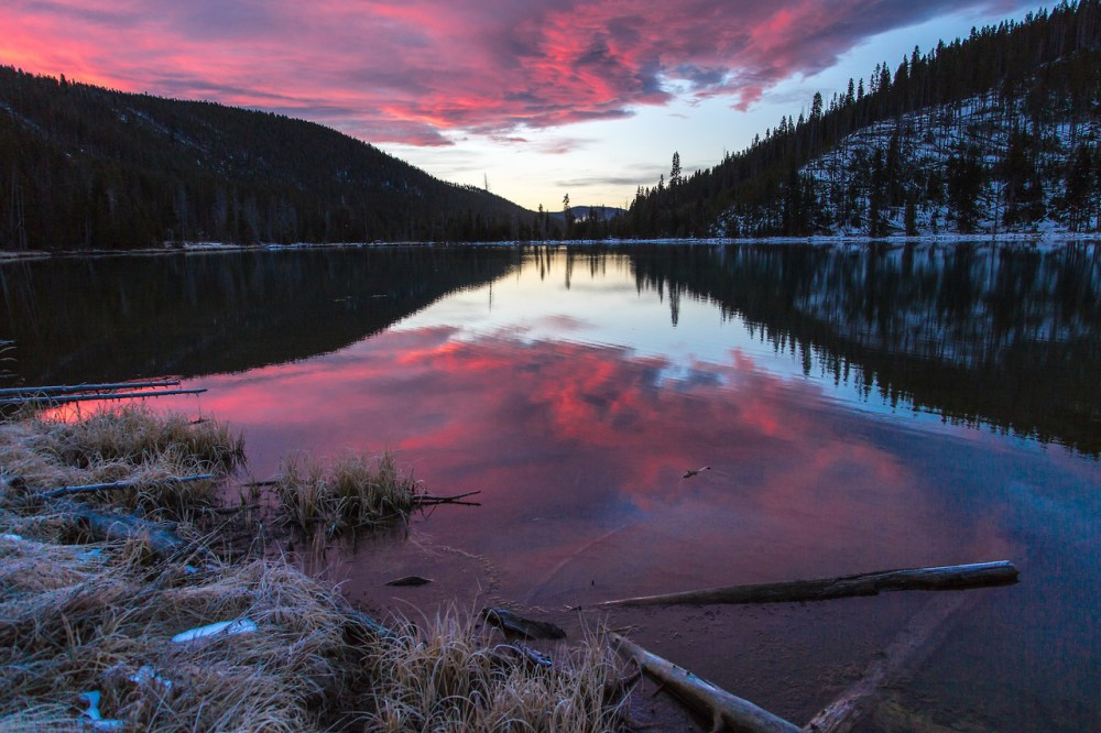 North Twin Lake at Yellowstone National Park flashes pink during sunrise. While this photo was taken a couple weeks ago, the weather at Yellowstone is quickly changing. North Twin Lake is already covered in snow for the season. Photo by Neal Hebert, National Park Service. Posted on Tumblr by the US Department of the Interior, 11/16/14.