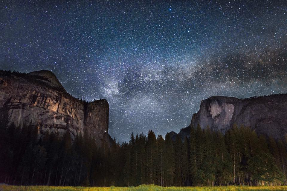 "Joseph Taylor captured this stunner of the endless Milky Way galaxy floating above the granite monoliths — Washington Column and Half Dome — in Yosemite National Park's Stoneman Meadow. ""To be a part of a beautiful moment on Earth like this one is always breathtaking, but to capture it with my camera was incredible,""says Joseph."