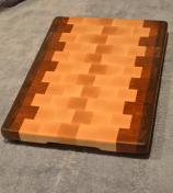 "Commissioned piece. Black Walnut, Hard Maple and Cherry end grain. 12"" x 16"" x 1-1/4""."