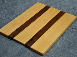 "Hard Maple & Black Walnut edge grain. 8"" x 12"" x 3/4"". Three made; only one left."