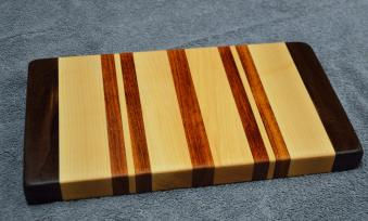 "Hard Maple, Black Walnut & Jatoba edge grain. 8"" x 12"" x 1-1/4""."
