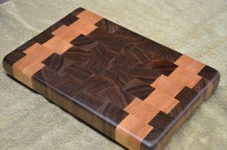 "Black Walnut and Cherry end grain. 8"" x 11"" x 1"". Already sold."