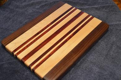 "Cutting Board # 15 - 001. Black Walnut, Hard Maple and Jarrah Edge Grain. 12"" x 16"" x 1-1/8""."