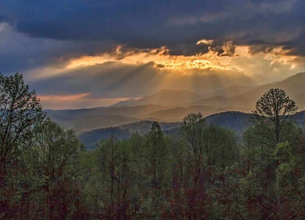 Great Smoky Mountains National Park. Sunrise photo from Newfound Gap by Dee Langevin. Posted on Tumblr by the US Department of the Interior, 1/11/15.