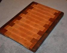 "Cutting Board # 15 - 013. Black Walnut, Cherry and Hard Maple. I love the dark patina that this board has. 12"" x 16"" x 1-1/4""."