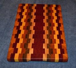"""Cutting Board 15 - 018. Cherry, Jatoba, Yellowheart, Walnut and Jarrah end grain cutting board. 12"""" x 19"""" x 1-1/4""""."""