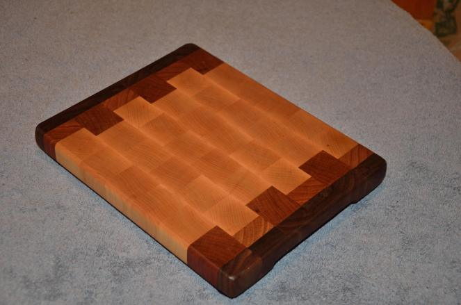 "Small Board # 15 - 012. Black Walnut, Hard Maple & Cherry end grain. 10"" x 12"" x 1-1/4""."