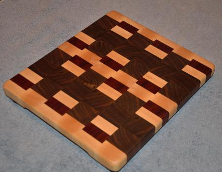"Small Board # 15 - 018. Hard Maple, Black Walnut and Padauk end grain. 12"" x 12"" x 1-1/8""."