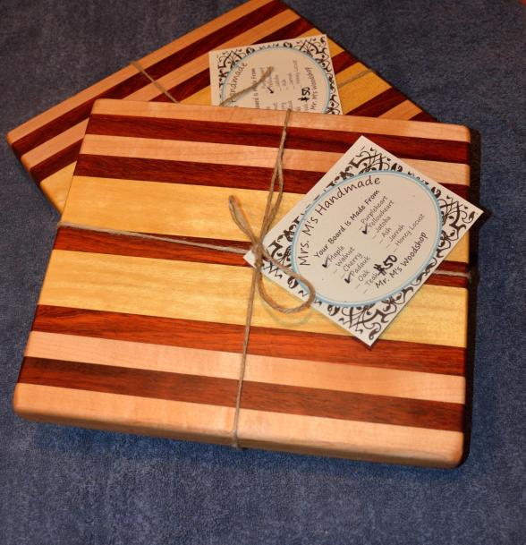 "Hard Maple, Padauk and Yellowheart edge grain small boards. 12"" x 11"" x 1-1/4""."