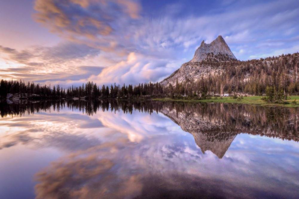 Upper Cathedral Lake, Yosemite National Park. Photo by Cliff LaPlant. Tweeted by the US Department of the Interior, 2/9/15.