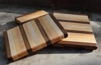 "Cheese Board # 15 - 014. 8"" x 11"" x 1"". Black Walnut, Honey Locust & Hard Maple."