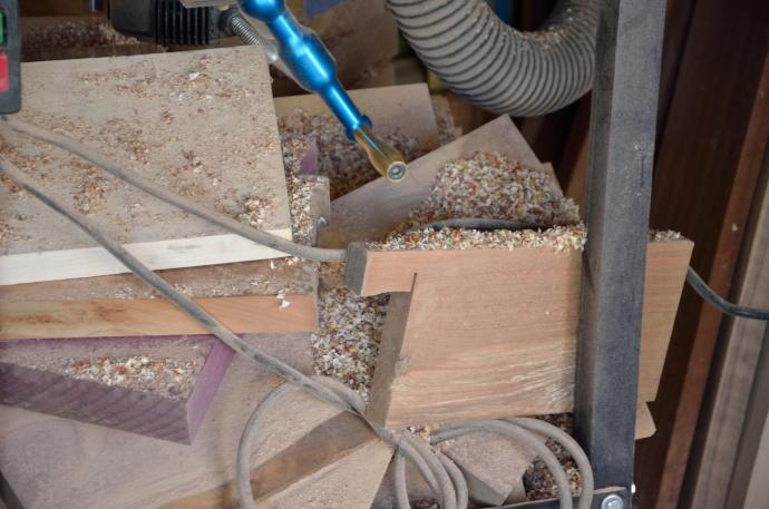 Here's what happens when I run the router table without dust collection. Sawdust. Everywhere.