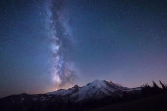 The Milky Way above Mount Rainier National Park. Photo by Paul Weeks. Tweeted by the US Department of the Interior, 2/28/15.