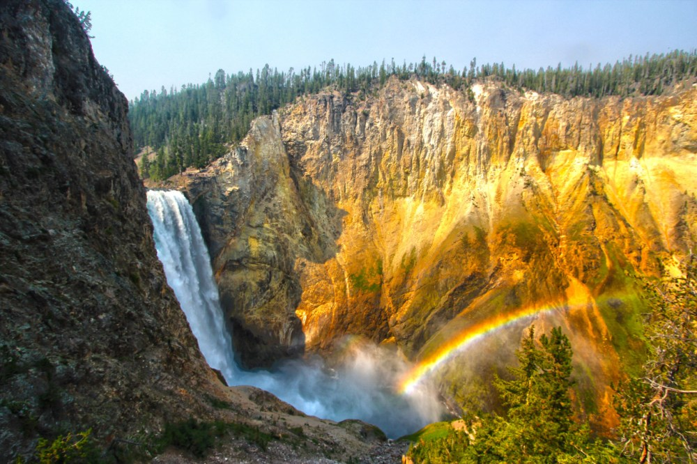 Happy 143rd birthday, Yellowstone National Park! On this day in 1872, Yellowstone became the first national park — starting a worldwide movement to protect special places. Today, millions visit Yellowstone to discover the park's geysers and mud pots, forests and lakes, and historic cabins and prehistoric sites — not to mention it's stunning waterfalls. Pictured here is a rainbow at Lower Falls on the park's Uncle Tom trail. Photo by Kallem Phillips. Posted on Tumblr by the US Department of the Interior, 3/1/15.