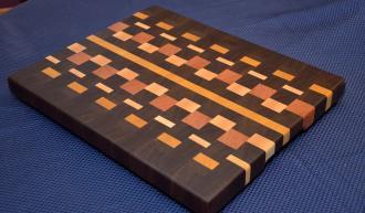 "Cutting Board # 15 - 036. Black Walnut, Yellowheart, Maple and Cherry End Grain. 16"" x 20"" x 1-1/2""."
