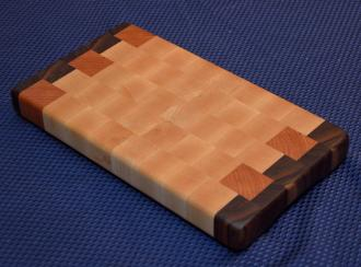 "Cutting Board # 15 - 038. Black Walnut, Cherry and Hard Maple End Grain. 7"" x 12"" x 1-1/4""."