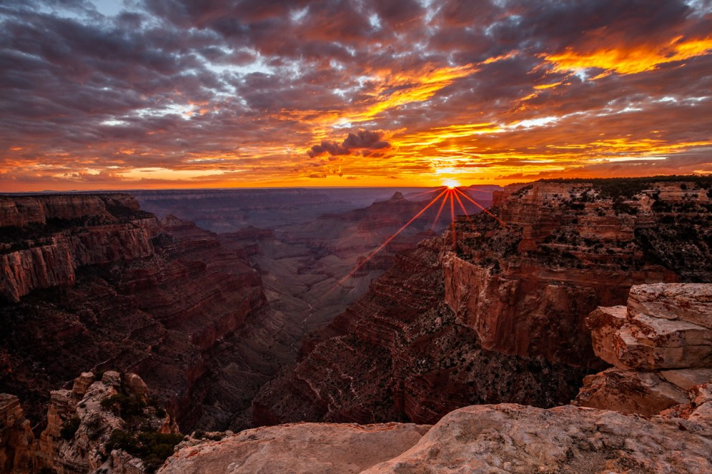 Sunsets are amazing at the Grand Canyon National Park in Arizona. Randy Langstraat captured this pic from Cape Royal — a point that provides a panorama up, down, and across the canyon. With seemingly unlimited vistas to the east and west, it is popular for both sunrise and sunset. Cape Royal is on the North Rim of the park, which will open for summer in May. Posted on Tumbr by the US Department of the Interior 4/5/15.