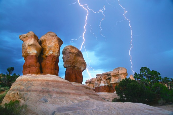 An amazing display of natures power as a lightning bolt tears through the sky over Devils Garden in Utah's Grand Staircase-Escalante National Monument. Captured during a 10 second exposure in the middle of a rain storm. Photo by Adam Haggerty. Posted on Tumblr by the US Department of the Interior, 4/14/15.