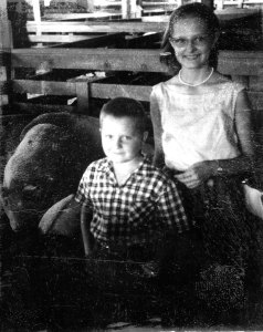 Here I am with Aunt Sis. Circa 1964. We always thought it was a happy day when you sold your pigs.