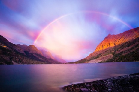 Montana's Glacier National Park celebrates its 105th anniversary as the US's 10th national Park. Here, the run rises over St Mary Lake creating a rainbow. Photo by Gavin Danapong. Posted on Tumblr by the US Department of the Interior, 5/11/15.