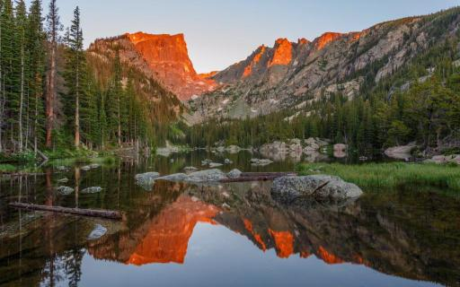 A stunning Alpenglow sunrise over Dream Lake. It's just one of the amazing vistas in Colorado's Rocky Mountain National Park. Photo by Malcolm Boshier. Tweeted by the US Department of the Interior, 5/7/15.