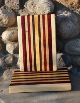 "Cheese Board 15 - 020. Hard Maple, Padauk, Walnut and Yellowheart edge grain. 10"" x 12"" x 1""."