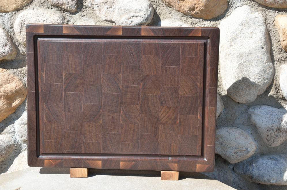"Cutting Board 15 - 043. Black Walnut end grain with juice groove. 12"" x 16"" x 1-1/2"". Commissioned piece, one of a set of three."